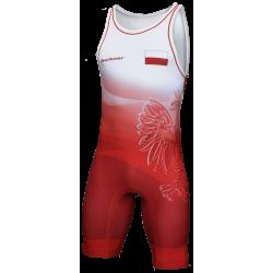 Męski kostium zapaśniczy DRUK czerwony