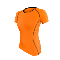 damski T-Shirt kolarski Orange FLUO