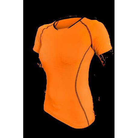 damski T-Shirt kolarski Orange FLUO
